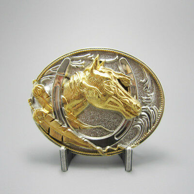 Horse Horseshow Western Cowboy Silver Gold Plated Belt Buckle