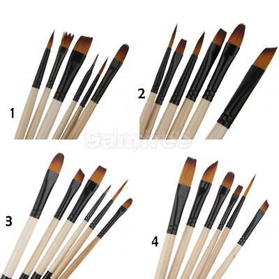 PRO 6pcs Assorted Detail Artists Brushes Set For Acrylic Watercolour Oil Paint