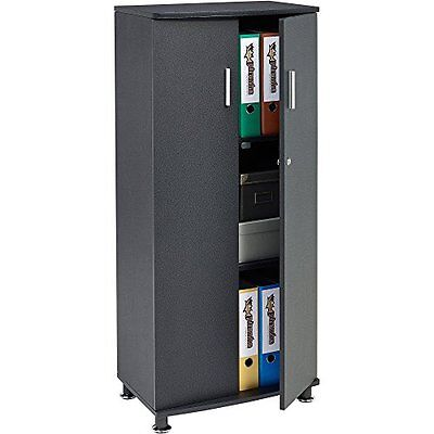 Lockable Office Cupboard Furniture Storage Organize Cabinet With 3 Shelves Black