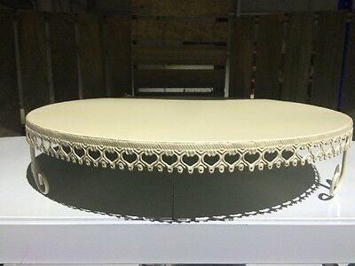 New Huge Cream Metal Round Cake Stand  With Lace Detail 50 x 10cm