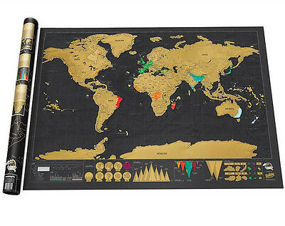Deluxe Edition Scratch Off World Map Large Poster Travel Log DIY Christmas Gift