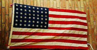 Vintage Wwii Era American Flag Us Usa Marked 48 Stars Sewing Stripes From Europe