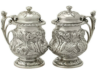 Pair of Sterling Silver Mustard Pots - Antique George V