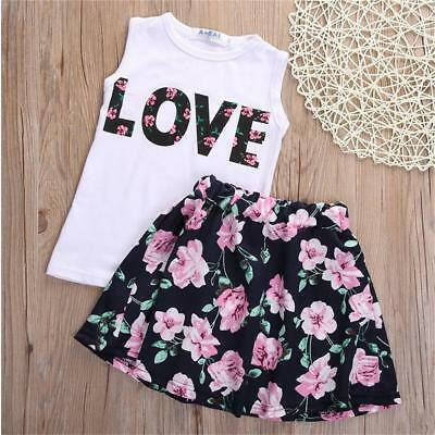 2-7Y Toddler Kids Girls Baby Outfits Tops Shirt+Skirts Dress Clothes 2pcs Set