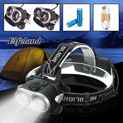 Elfeland 10000Lm 2x T6 LED USB Rechargeable Headlamp Headlight Torch lamp