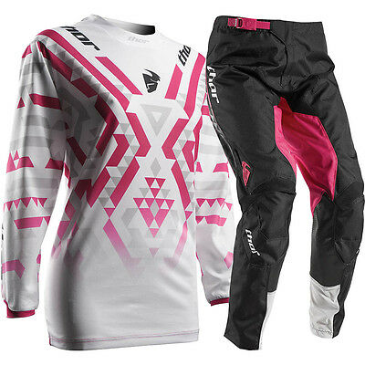 Thor 2017 Mx NEW Pulse Facet Jersey Pants White Pink Womens Motocross Gear Set