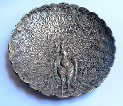 Vintage desktop cast brass coin or card tray with embossed peacock detail 10796