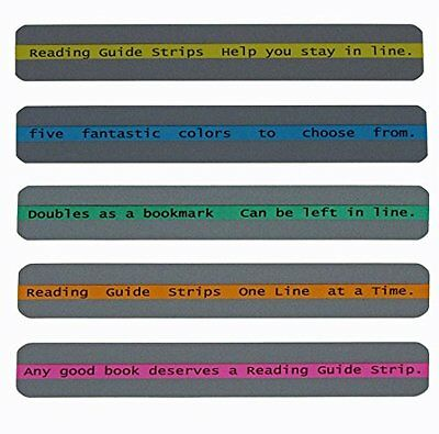 Reading Guide Highlighter Strips, Set of 5 Blue, orange, green, pink and yellow
