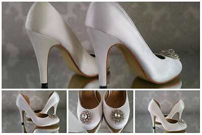 Vintage Bridal Wedding Court Shoes High Heels Womens Broach Size 3 4 5 6 7 8 9