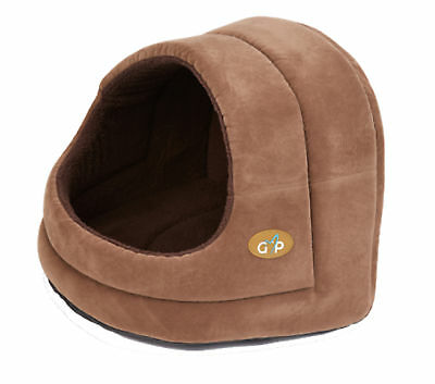Gor Pets Bruges Brown Suede & Soft Fleece Hooded Bed Luxury Cat Puppy Igloo Cave
