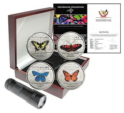 Congo 30 Francs X 4, 20g Silver Proof Coin Set,2014,Mint,Magnificent Butterflies