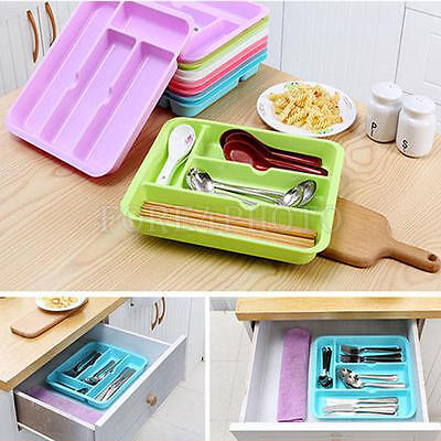 Partical Kitchen Supplies Cutlery Separated Storage Box Plastic Drawer Organizer