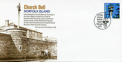 Norfolk Island 2013 FDC Church Bell 1v Set Cover Russell Sydney Foundry Stamps
