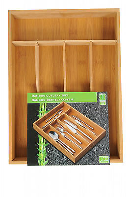 Bamboo Wooden Cutlery Tray Drawer Organiser Drawer Insert Storage 5 Compartments
