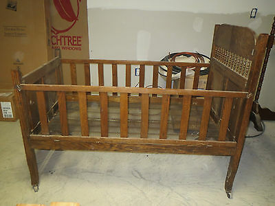 FANTASTIC Antique 1800's Folding Baby Crib Bed Wood All Original GORGEOUS!