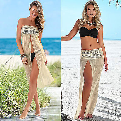 Copricostume mare pareo gonna Designer Tan Fishnet Kaftano Cover up Beach Dress