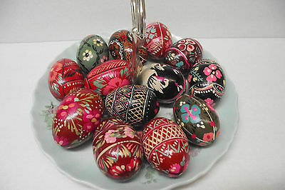 Lot Of 13 Wooden Easter Eggs Ukranian Pysanka Hand Painted Lots Of Pinks