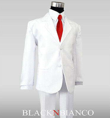 Boys White Formal Tuxedo Suit with a Vibrant Red Long Neck Tie and White Tie Set