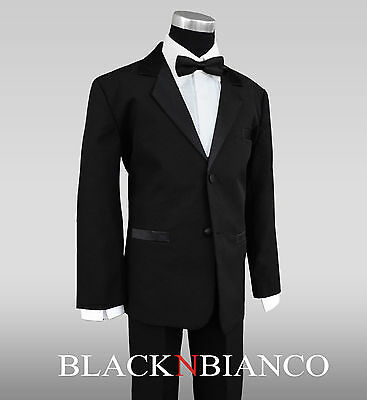 Boys Tuxedo Dresswear Formal outfit with TWO Black Bow Ties