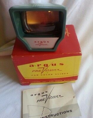 Vintage Argus Lighted Pre Viewer For Color Slides-Box Instruct.-For Parts