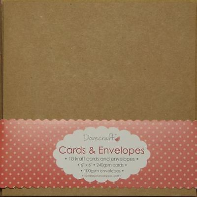 "10 x Square 6"" Recycled Kraft Card Blanks + Envelopes Natural Brown (Dovecraft)"