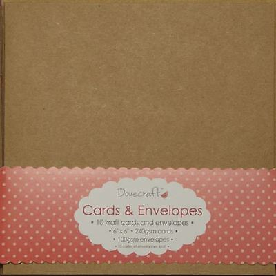"""60 x Square 6"""" Recycled Kraft Card Blanks + Envelopes Natural Brown (Dovecraft)"""