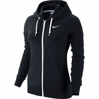 New Women's Nike Solid Jersey Full-Zip Hoodie Sweatshirt!!! In Black White!!!