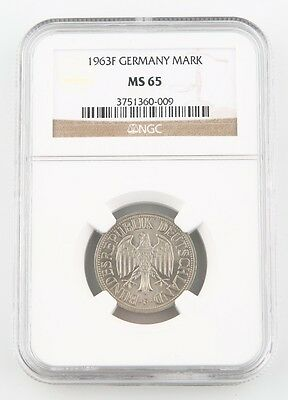 1963-F West Germany 5 Deutsche Mark Coin MS-65 NGC Federal Republic KM-110