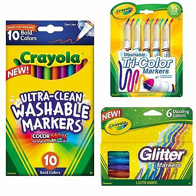Crayola Markers 16 Styles to Choose From Broad/Fine Glitter Doodle Tri-Color etc