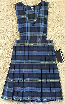 French Toast Blue/Red Plaid V-Neck Pleated Jumper For Girls In Size 14 NWT