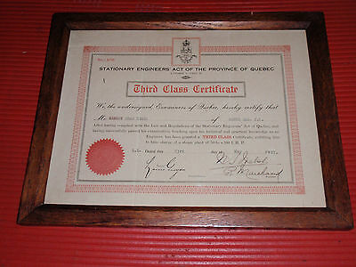 Antique Framed Engineer Certification Third Class Province Of Quebec 12 3/4 X 10