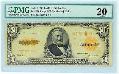 1922 $50 Gold Certificate Fr#1200 Large S/N Speelman/White PMG 20 Very Fine