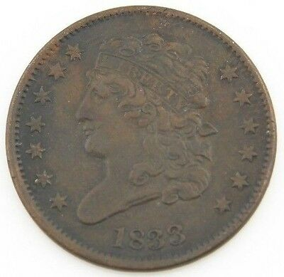 1833 US Classic Head Half Cent Copper Coin XF Brown 1/2c Nice Detail KM-41