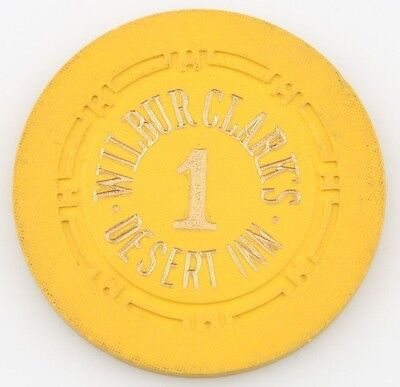 Wilbur Clark's Desert Inn Casino Roulette Chip Las Vegas Table 1 H Mold Yellow