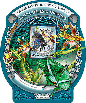 Maldives 2016 MNH Butterflies & Orchids 1v S/S Insects Flowers Butterfly Stamps