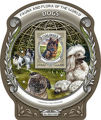 Maldives 2016 MNH Dogs Fauna & Flora of World 1v S/S Pets German Shepherd Stamps