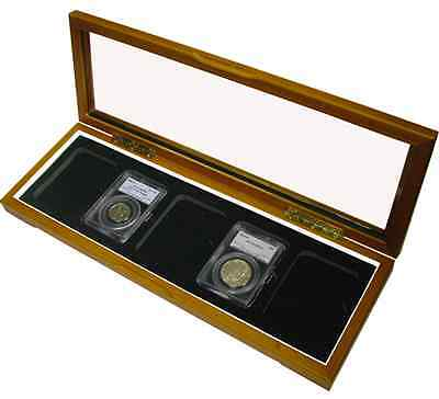 Guardhouse Wood Glass Top Box 5 Slabs Certified Coins PCGS NGC Case Free USA