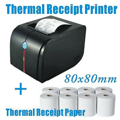 POS Thermal Receipt Printer 80mm Auto Cutter USB/Ethernet/Serial + Paper Roll