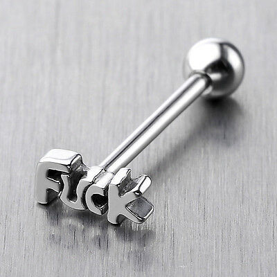 1pc 14G Carved Stainless Steel Ball Barbell Tongue Rings Stud Bars Piercing Punk