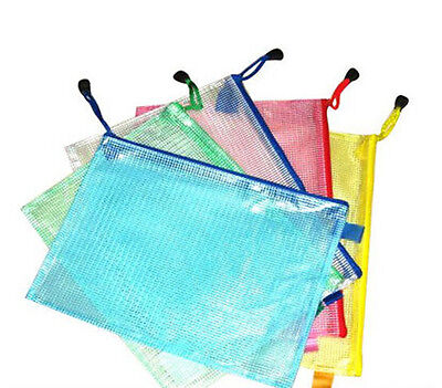 10 Pieces Document Bag A4 Size School Office Supplies File Pocket Mixed Color
