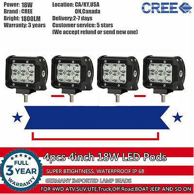 4x 4inch 18W CREE LED Work Light Bar Pods Lamp SUV 4WD 4X4 UTE Boat Truck Jeep 3