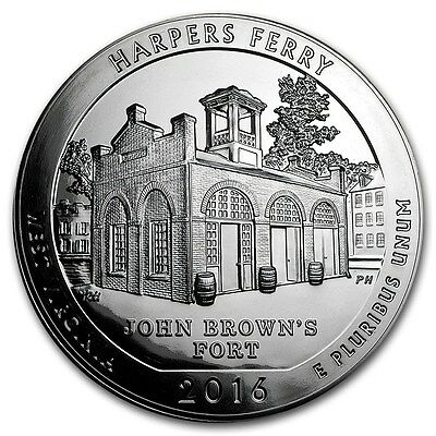 2016 ATB America the Beautiful Harpers Ferry WV 5 oz .999 Silver Coin