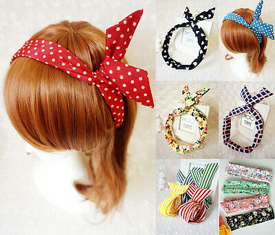 Bunny Ears Wire Hair Headband Ladies Women Girls Bowknot Wrap Scarf Accessories