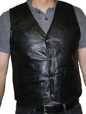 Men's Motorcycle Genuine Patch Leather Black VEST FREE SHIPPING Only $17.99