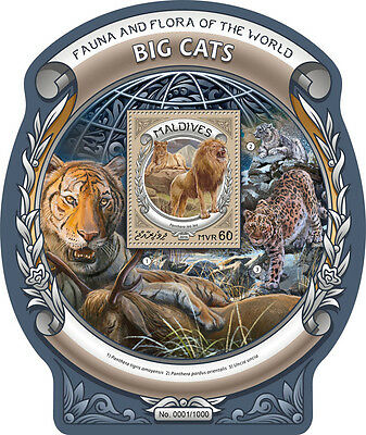 Maldives 2016 MNH Big Cats Fauna & Flora World 1v S/S Lions Wild Animals Stamps