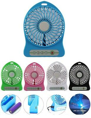 USB Portable LED Mini Fan Air Cooler 2400mAh w Rechargeable Lithium Battery Box