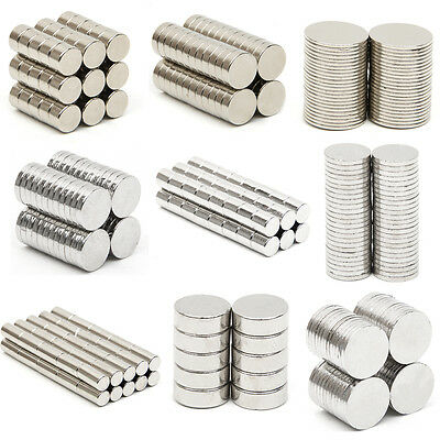 Neodymium Magnets N52 Super Strong Disc Rare Earth Craft Hobby Disk All Sizes
