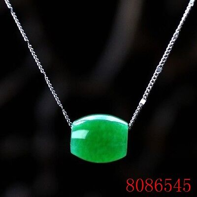 Natural Hand-carved Chinese Jade Necklace Pendant-Green