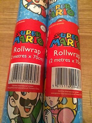 Nintendo Super Mario Gift Wrap  Wrapping Paper Roll 2 Meter