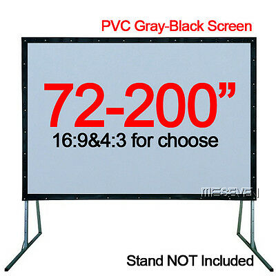 72-200 Inch Home Theater/Outdoor HD Projector White Gray-Black Projection Screen